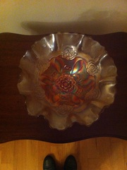 Carnival glass decorative dish