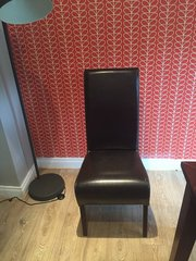 Six Leather dining chairs from Arnotts for sale